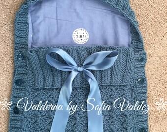 Baby Cocoon Blue* Knit * Crochet* (NEWBORN)