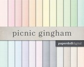 Gingham Digital Paper - Picnic Scrapbooking Paper - Checked Pattern - Instant Download - 24 Sheets