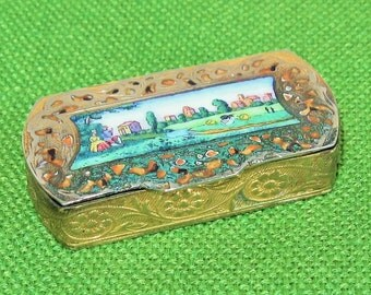 15%   SALE Antique Hand Painted Enamel Italy Pill Snuff Box-Colonial Romantic Country Scene-Houses-Trees-People-Water-Animals-Gilded