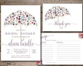 Bridal Shower Watercolor Floral Umbrella Printable Invitation, Recipe Card and Thank You Card - Digital File - Print Yourself