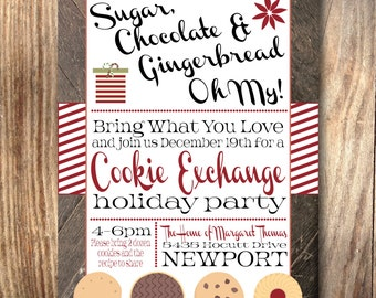 Printable Holiday Christmas Cookie Exchange Party Invitation- Print Yourself- Digital File