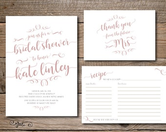 Printable Bridal Shower Invitation and or recipe card and thank you card - digital file - print yourself