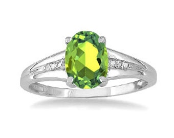 Oval Cut Natural Peridot Diamond Ring In White Rose Yellow Gold or Silver, August Birthstone Peridot Jewelry, Green Stone Gold Gemstone Ring