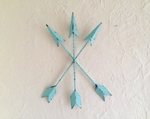 Arrows wall decor, Tribal metal, distressed in Mint or non distressed