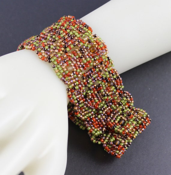 Autumn Block Quilt.Beadwoven Seed Bead Bracelet...Fern green.Rust.Bronze.Gold.Rustic.Autumn in Wyoming.Slinky.