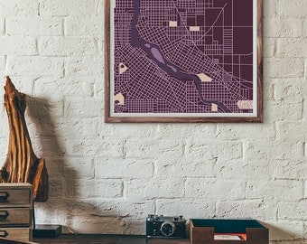 Prince edition - Minneapolis vintage map print