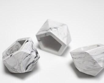Mini icosaèdre marbre béton géométrique