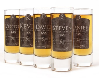 Set of 5, Personalized Shot Glasses, Groomsmen Shot Glasses, Gray Design