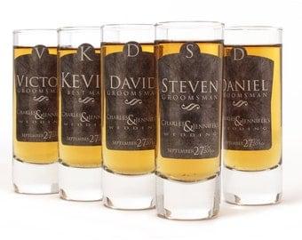 Set of 2, Personalized Shot Glasses, Groomsmen Shot Glasses, Gray Design