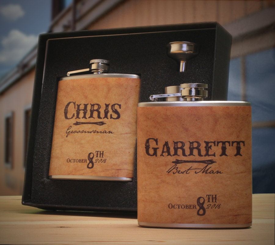 Country Wedding Gift Ideas: Country Wedding 6 Groomsmen Gift Flask Sets Personalized
