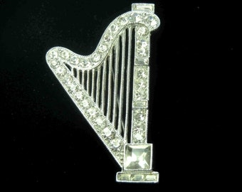 Crystal Clear Harp Brooch