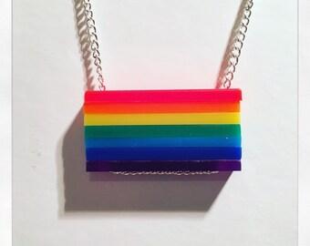 Rainbow Block Acrylic Necklace