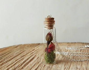 Real Flower Necklace, Glass Vial Pendant, Botanical Jewellery