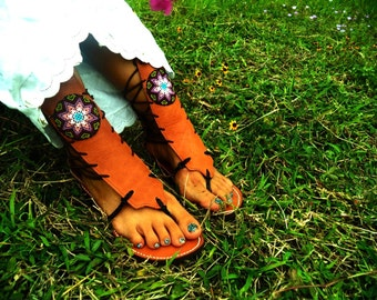 Leather sandals- leather sandals with  huichol art beading