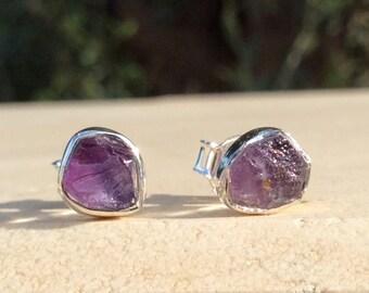 Raw Amethyst Silver Stud Earrings, Maid of Honour Gifts, Raw Gemstone Earrings, Raw Stone Studs, Amethyst Earrings, Purple Stone Studs