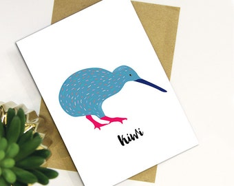 Native Birds of Aotearoa, New Zealand Kiwi Card