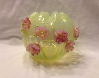 Antique (1890) Harrach Glass Yellow Green Vaseline Bowl w Applied Pink Flowers, Hungary Art Glass