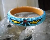 Bracelet Beaded Tribal Turquoise Yellow Black Bat Symbol Bat Motif Bangle Bracelet Tourist Trade Boho Southwestern