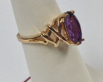 Natural Amethyst Ring 925 Silver with Yellow Gold Plated