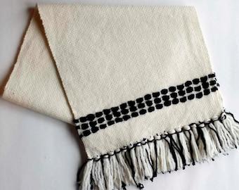 Handwoven Table Runner, Modern Table Linens, Woven Wool Runner, spring Decor, Black and White Runner, Modern Runner, Weaving