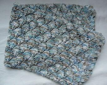 """Handknitted baby blanket, blue, brown white. Cotton. 28""""x 35 1/2"""", 70 x90 cm."""