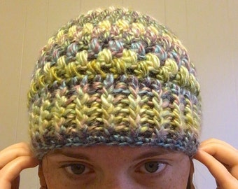 SALE. Ready to ship. Adult Beanie. Crochet-puff stitch-winter hat.