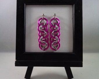 Pink Viper Basket Chainmail Earrings; Fuschia Chain Mail Earrings; Chainmaille Earrings; Chain Maille Earrings; Hot Pink Chainmail Earrings