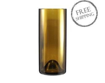 Amber Cylinder Wine Bottle Vase