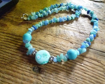 blue necklace, multi gemstones