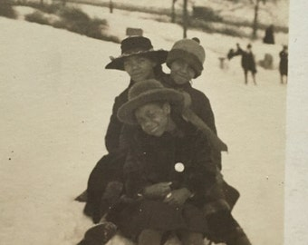 Winter Fun Sledding Kids- African American  - Snapshot Vintage Photograph
