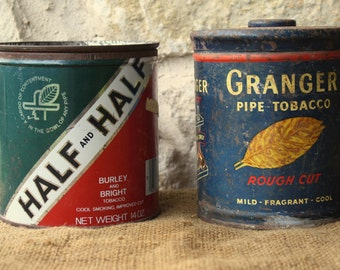 Two Vintage Tin Duo, Half & Half Tobacco, Granger Pipe Tobacco