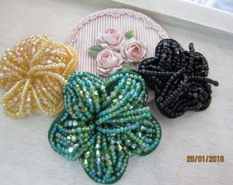 1Piece- Beaded 3D Flower Applique/NEB96-Beaded Embellishment/Headpiece/Brooch