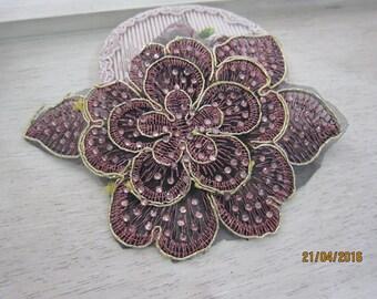 1 piece embroidered Applique/NA61-Beaded Applique/Vintage Flower Applique
