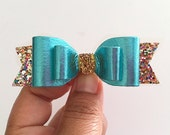 Girls Hair Bows Boutique hair Clips Turquoise Bows Leather Bows Glitter Bows Baby Headbands toddler bows Meghan and Julie Summer Hair clip