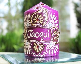 Purple Customized Name Candle. Handmade Candle.
