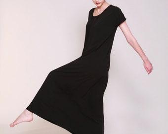 Black Maxi Dress, Pleated Dress, Long Summer Dress, Short Sleeve dress, Loose Fit,  Boho Maxi Dress, Casual, Black Summer Dress