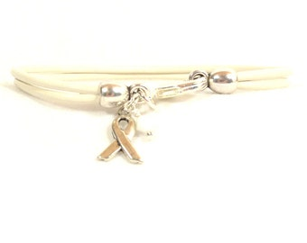 Lung Cancer Awareness Bracelet - White Double Strand 2mm Round Bracelet with Lobster Clasp (2M-024)