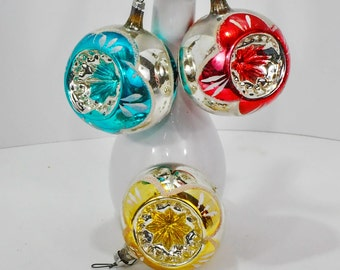 Three Double Indent Vintage Glass West Germany Christmas Tree Ornaments 1960-70's