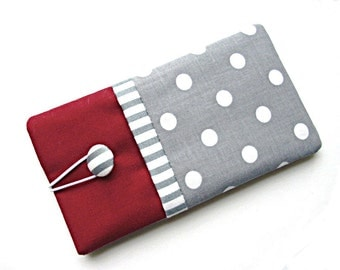 Smartphone Pouch, iPhone5, iPhone6, 6 plus, Galaxy S3 mini, Galaxy S4, S5, Galaxy S6, S6 Edge, red, white, grey, dots