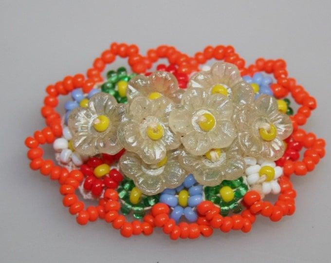 Antique 1920 Pin Brooch Czech Glass Seed Beads