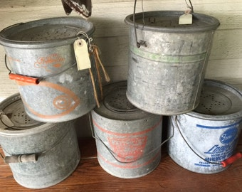 Vintage Minnow Bait Buckets Galvanized 10 Quart Pail ****Nice Shape****, Listing is for one only