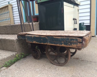 Antique, Small Luggage Cart, Railroad, 28Lx16Wx14T, Rare, Very Unique, End Table, Coffee Table, One Of A Kind