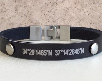 Men Bracelet,Men Leather Bracelet,Men Personalized Bracelet,Custom Leather Bracelet,Engraved Bracelet,Bracelets For Men