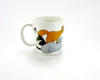 Vintage Kitty CAT Tabby Cats Coffee Mug Tea Cup / Trend Pacific Japan