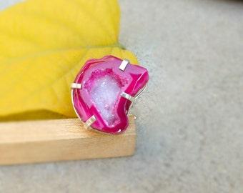 Pink Druzy Ring, Natural pink Geode Ring Size 9.5, Gemstone Handmade Prong Ring, Pink Geode Druzy Jewelry, Drusy Ring, Gift Ring