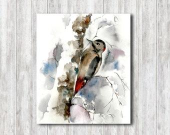 Original Watercolor Painting, Woodpecker Painting, Bird Watercolour Art