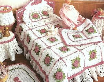 Vintage Crochet Pattern PDF  Fashion Doll Home Decor Barbie Sindy House Furniture Victorian Bedroom Granny Squares
