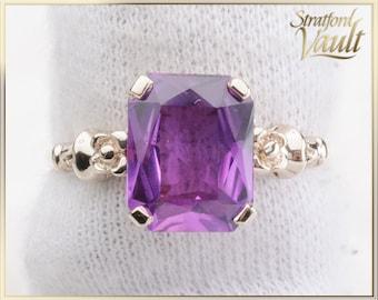 Vintage ~ Ladies Purplish Pink Sapphire Ring ~ 10.0 x 8.0mm Created Emerald Cut Pink Sapphire ~ 10k Yellow Gold ~  STR16071 ~ GIA ~ 2500.00
