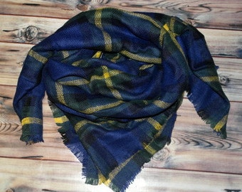 MONOGRAMMED Plaid Blanket Scarf - Blue, Yellow, Black, Green - PERSONALIZED or plain - blank