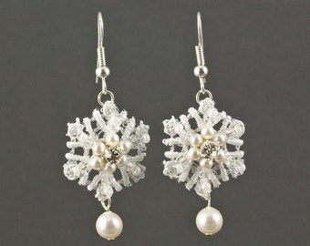 Pearl Lace Snowflake Earrings | Pearl Wedding Jewellery | Lace Wedding Earrings |  Snowflake Earrings | Winter earrings | Snowflake Wedding